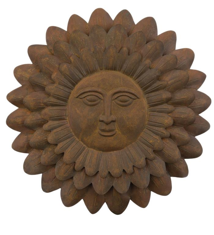 Sun Face Antique Style Rustic Wall Art Metal Garden Decor Indoor- Outdoor 23''D