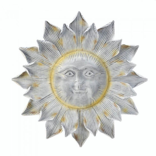 Sun Wall Art Metal Shimmering Happy Indoor/Outdoor Porch Patio Fairly Big Plaque