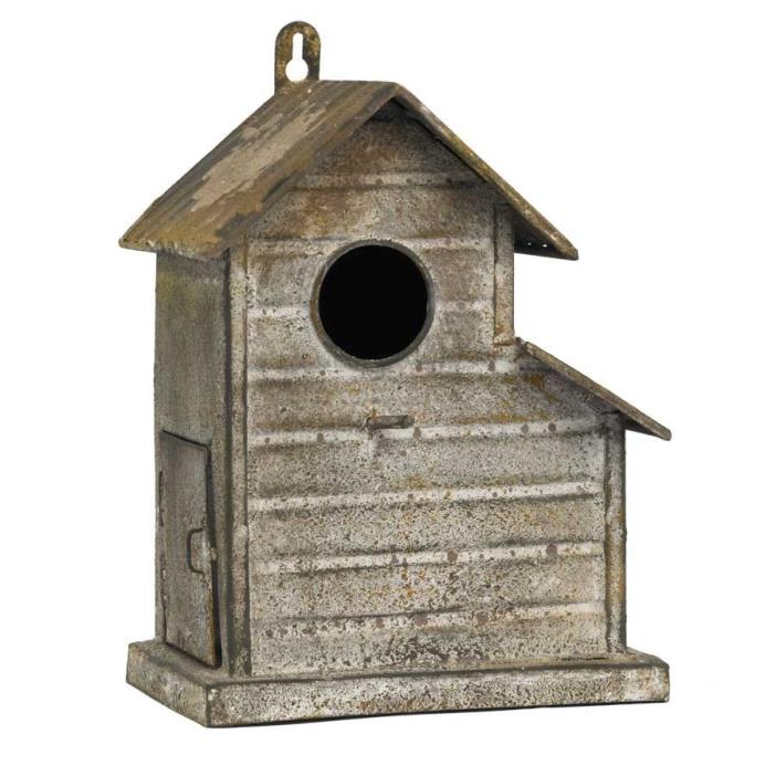 9 inch Slant Roof Rusty Birdhouse by K & K Interiors #11299A