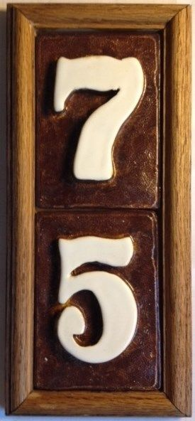 House address numbers, Oak frame handmade ceramic  See Applewood Pottery store