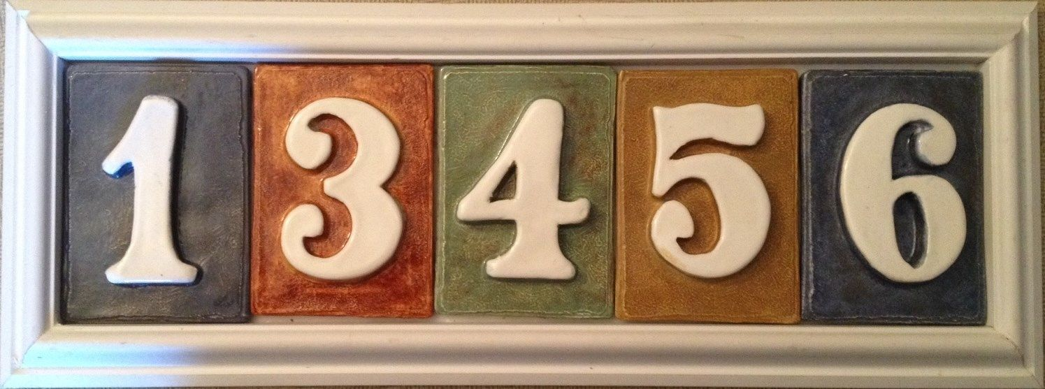 Address number plaque. Tile PVC weatherproof frame,tiles incl. Applewood Pottery