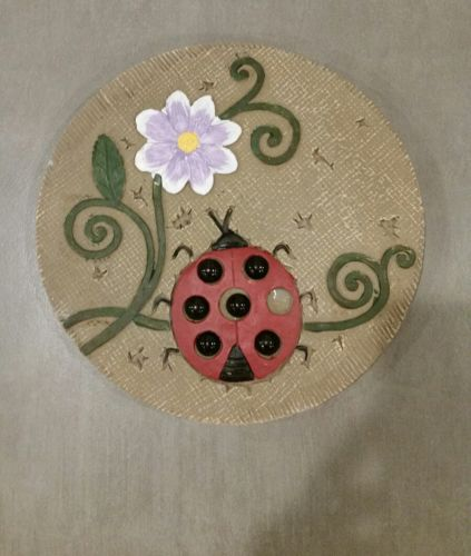 Stepping Stone w/ Ladybug and Purple Flower ~ 10