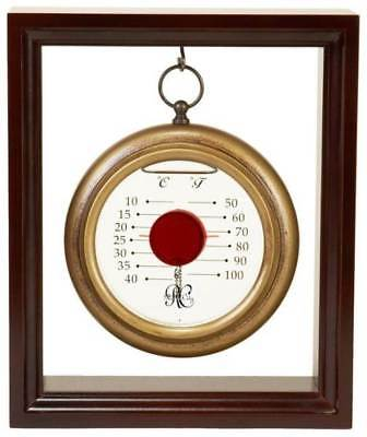 Hanging Liquid Thermometer w Cherry Finish Wood Frame [ID 29690]