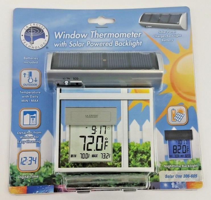 LA CROSSE TECHNOLOGY Window Thermometer with Solar Powered Backlight 306-605 New