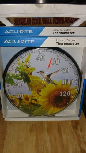Accurite Sunflower Hummingbird Thermometer Outdoor Thermometer, New