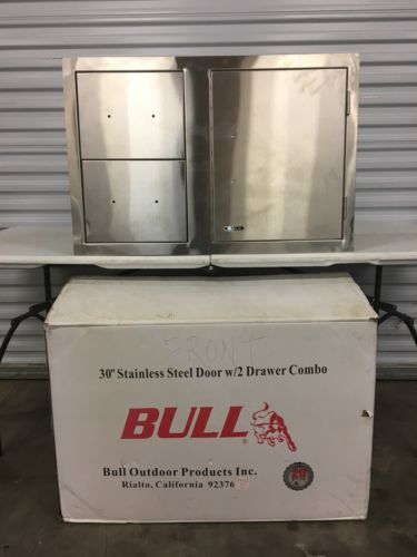 "Bull 30"" Stainless Steel Door Double Drawer Combo Bbq Island Insert 25876"