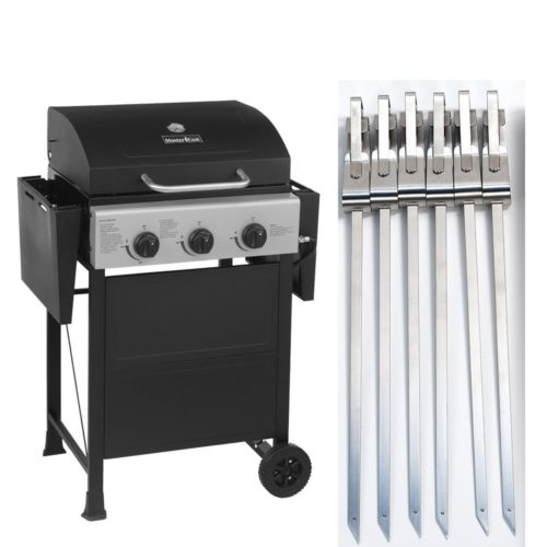BBQ Gas Grill 3 Burner Backyard Patio Stainless Steel + 17
