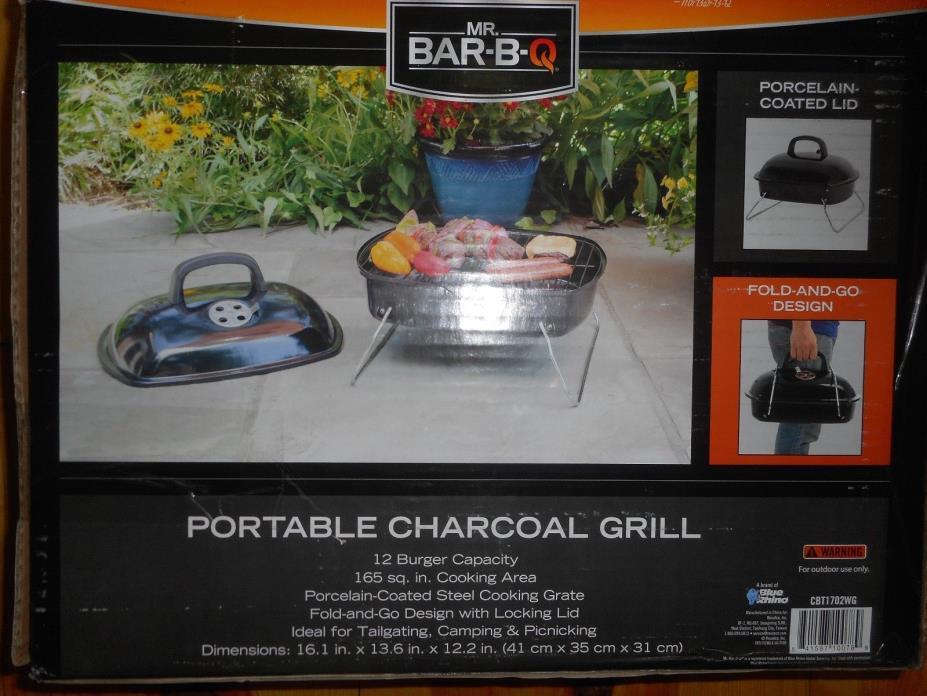 Mr BAR-B-Q Portable Charcoal Grill 12 Burger Capacity Fold and Go Design New