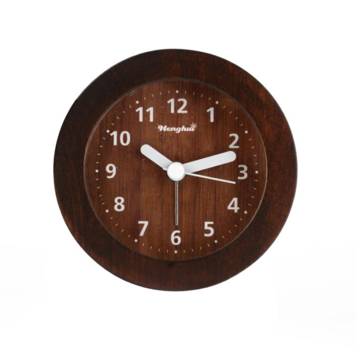 Henghui Solid Wood Circle Non Ticking Analog Quartz Alarm Clock with Nightlight,