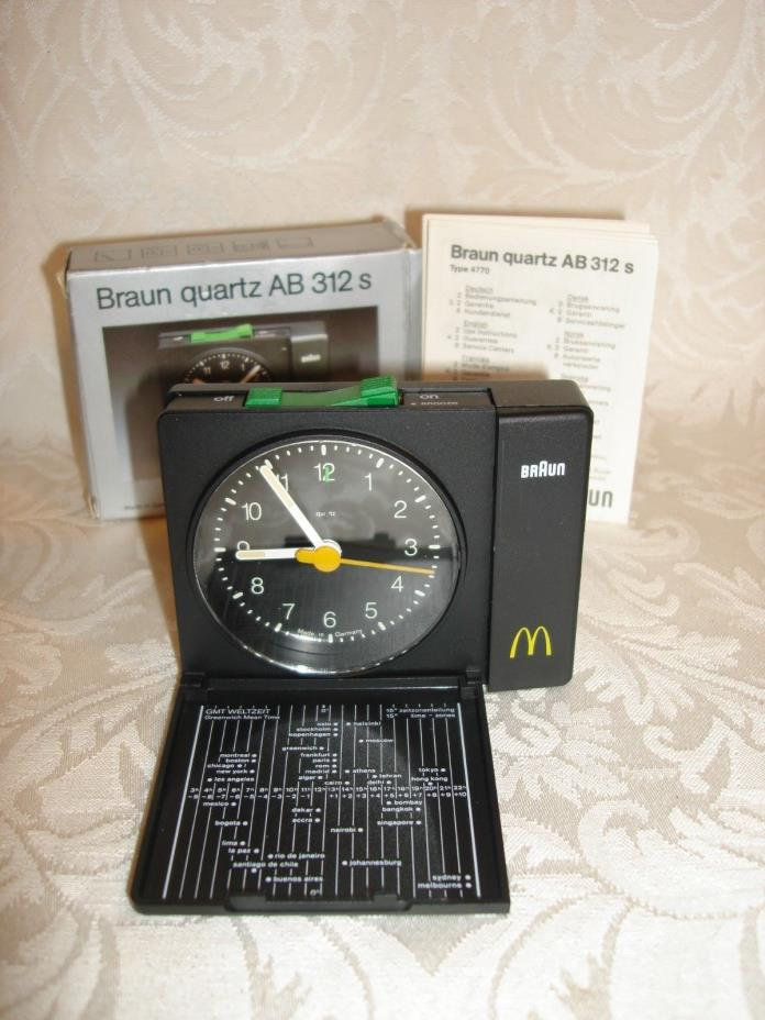 ULTRA RARE VINTAGE BRAUN TYPE 4770 / AB312 S TRAVEL ALARM CLOCK, McDonalds