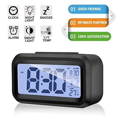 Alarm Clock Digital LCD Large Display Battery Operated Portable Modern Smart