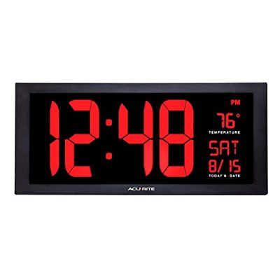 AcuRite 75100 Large Digital Clock with Indoor Temperature | LED Wall Date and