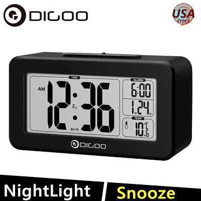 Digoo Date Snooze Blcaklight LCD Digital Sensitive Thermometer Desk Alarm Clock