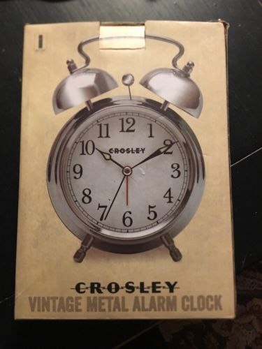 CROSLEY VINTAGE METAL ALARM CLOCK POLISHED SILVER  NEW