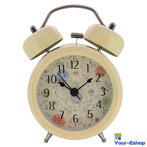 Analog Alarm Clock Loud Twin Bell Metal Case Battery Operated Quartz Movement
