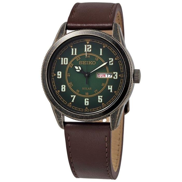 *BRAND NEW* Seiko Men's Brown Leather Strap Green Dial Steel Case Watch SNE448