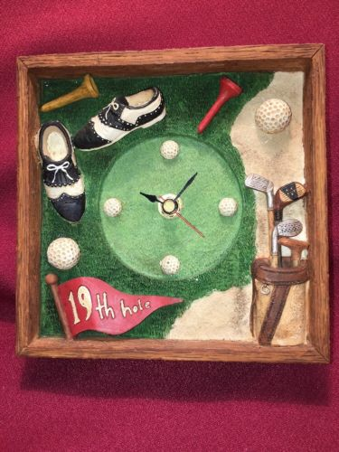 Golfer Gift!  Three Dimensional Battery Operated Clock Perfect Father's Day Gift