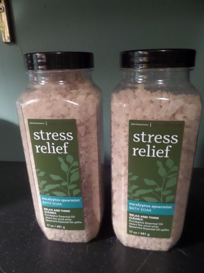2 Bath & Body Works Aromatherapy STRESS RELIEF EUCALYPTUS SPEARMINT Bath Soak