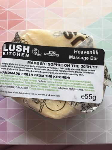 Lush Kitchen Heavenilli Mmassage Bar NWT Vanilla Jasmine tonka Vanillary