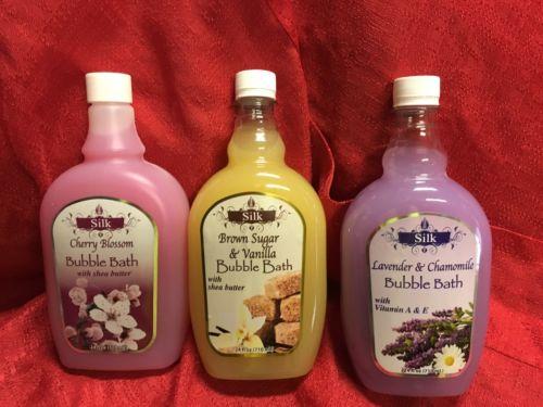 3 Silk Bubble Bath W/ Shea Butter 24 oz Ea Cherry Blossom, Lavender, Brown Sugar