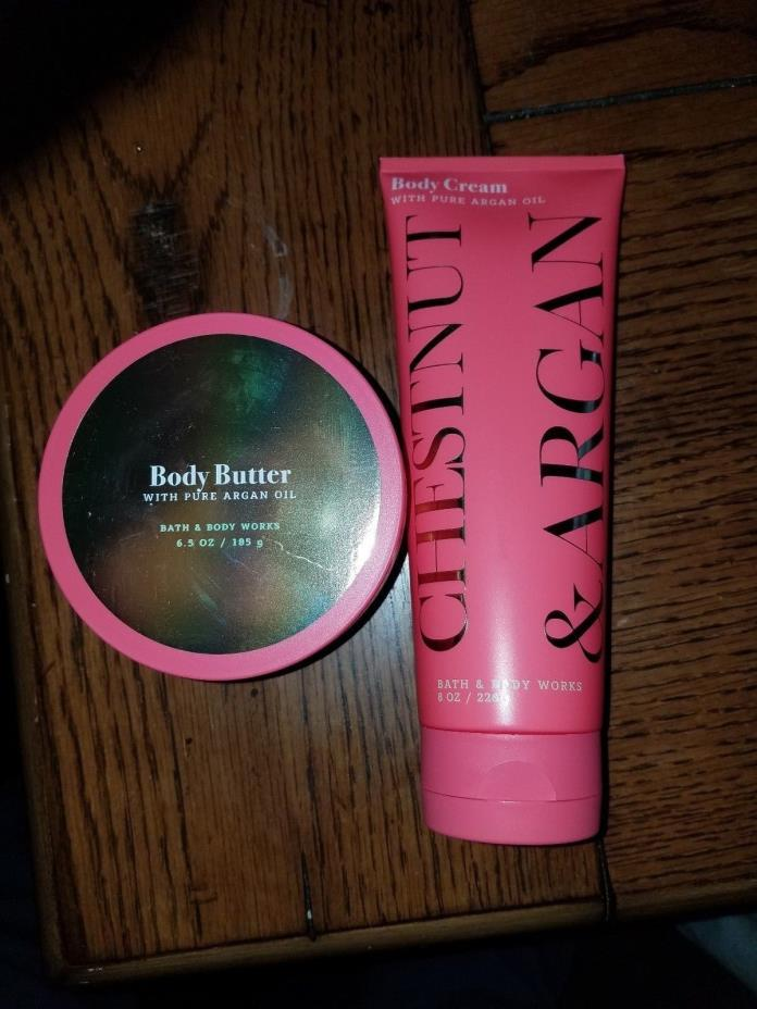 BATH & BODY CHESTNUT & ARGAN CREAM, & CHESTNUT BODY BUTTER