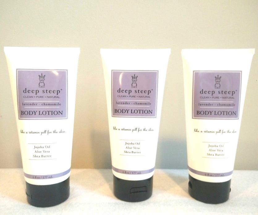 Deep Steep Body Lotion Lavender Chamomile 6 fl oz Cruelty Free, USA Lot of 3