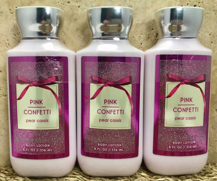 3 BATH AND BODY WORKS PINK CONFETTI  LOTION CREAM NEW GIFT SET**SEALED