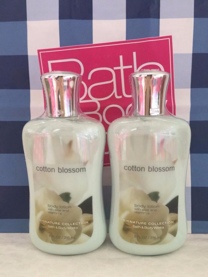 (2) Bath & Body Works COTTON BLOSSOM 8 oz / 236ml Body Lotion NEW