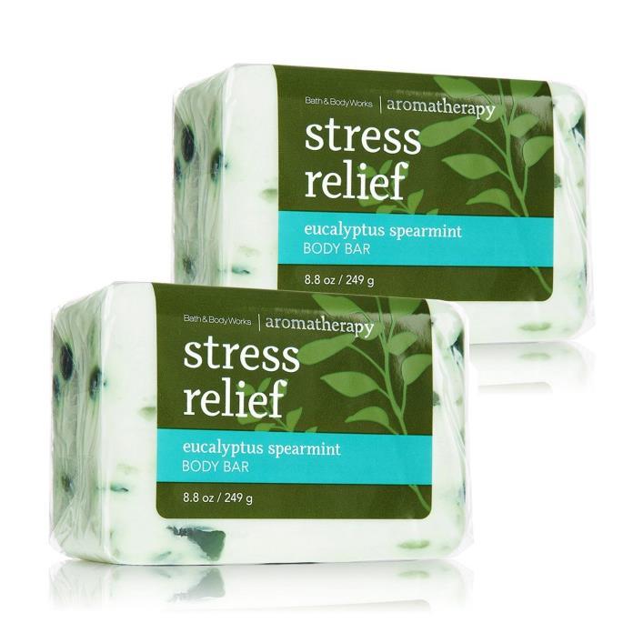 2 Bath & Body Works Aromatherapy Stress Relief Eucalyptus Spearmint Bar Soap