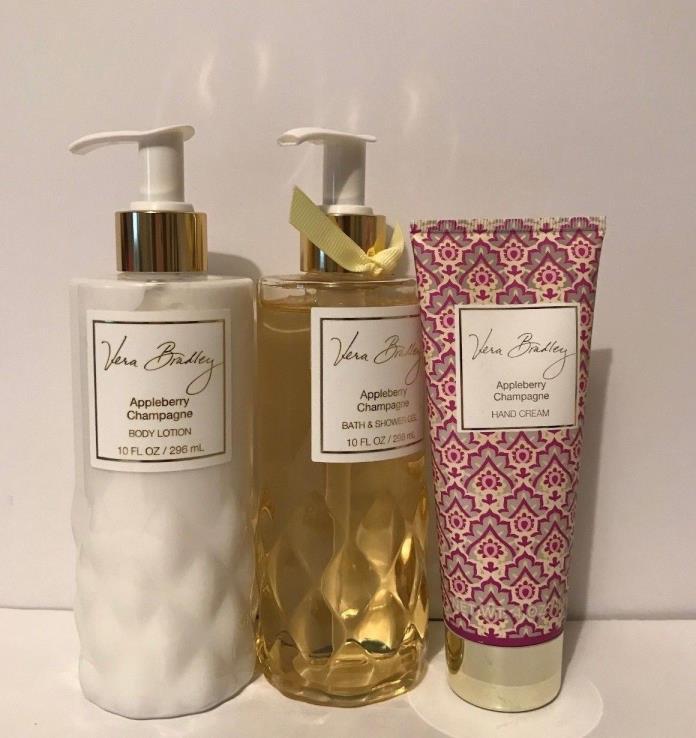 VERA BRADLEY Appleberry Champagne Body Lotion + Shower Bath Gel + Hand Cream NEW