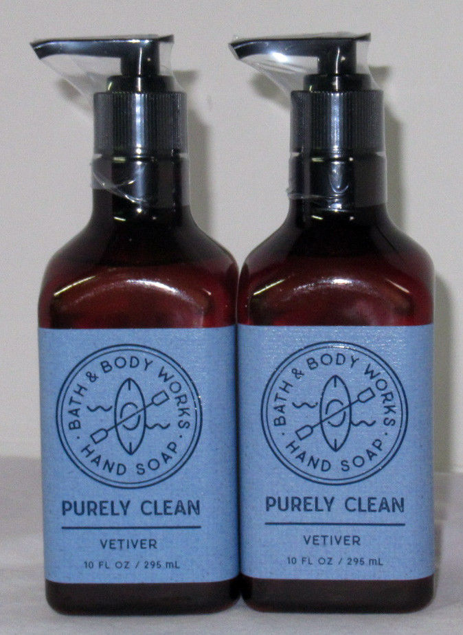 Bath & Body Works Purely Clean Hand Soap 10 fl oz Lot Set of 2 VETIVER