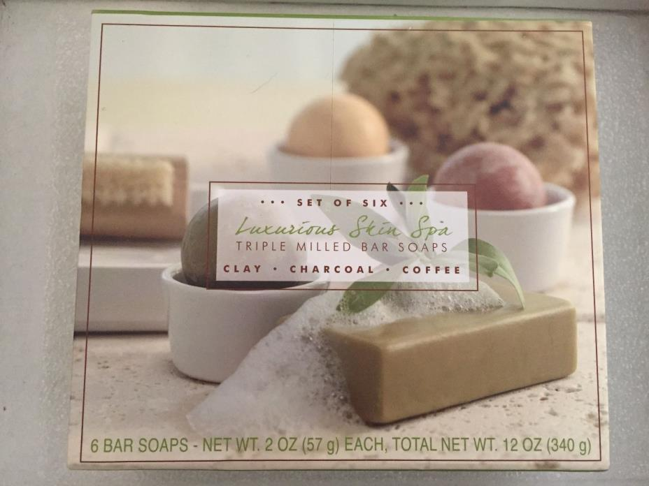 COMMONWEALTH LUXURIOUS SKIN SPA SOAP SET OF 6 CLAY CHARCOAL COFFEE COCONUT