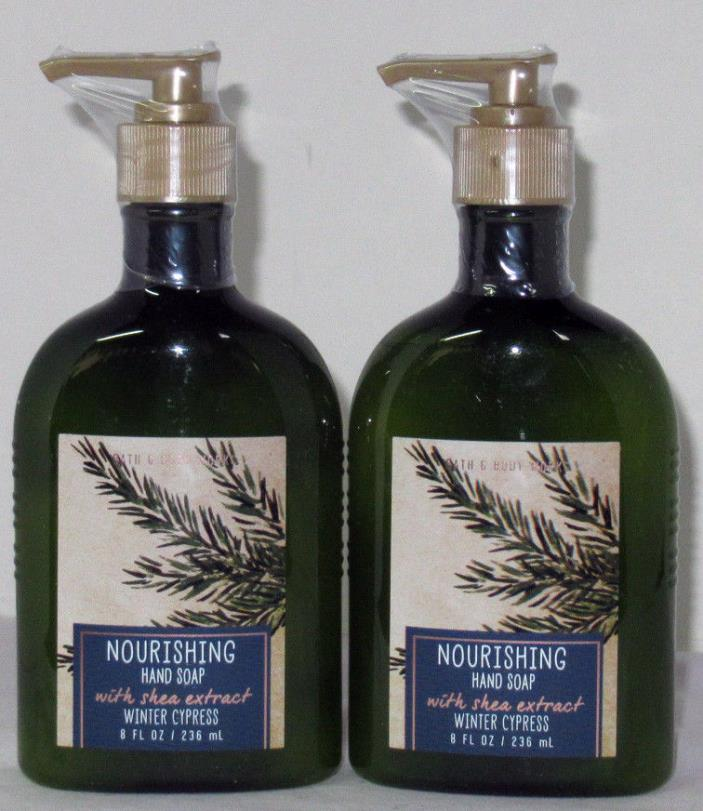 Bath & Body Works Nourishing Hand Soap shea extract Lot Set of 2 WINTER CYPRESS
