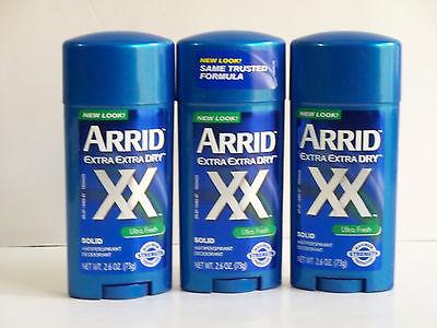 3 ARRID Extra Extra Dry Solid Antiperspirant Deodorant ULTRA FRESH - 2.6oz/ea