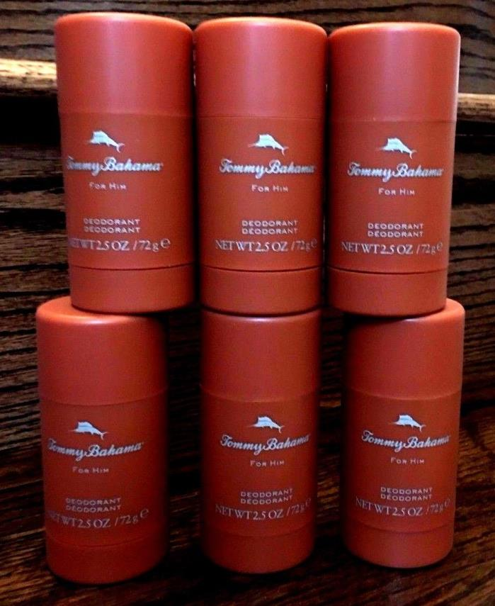 6 X TOMMY BAHAMA COGNAC DEODORANT FOR MEN,LOT OF 6, 2.5 OZ EACH