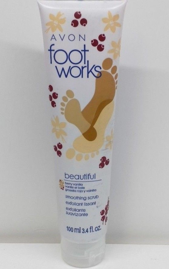 Avon Foot Works Beautiful Berry Vanilla Smoothing Scrub - 3.4 fl oz Sealed Tube