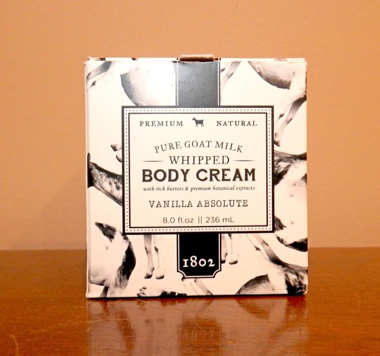 Beekman 1802 Pure Goat Milk Whipped Body Cream VANILLA ABSOLUTE, Large 8.0 oz