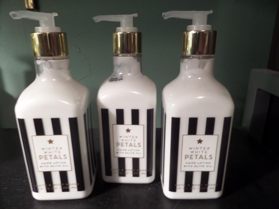Lot of 3 Bath & Body Works WINTER WHITE PETALS Hand Lotion with Olive Oil NEW