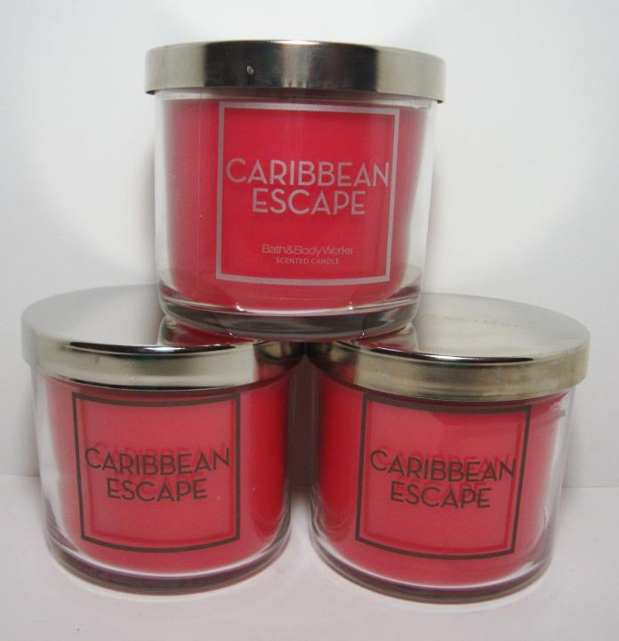 Bath & Body Works Caribbean Escape 4 Oz Candle Lot Of 3