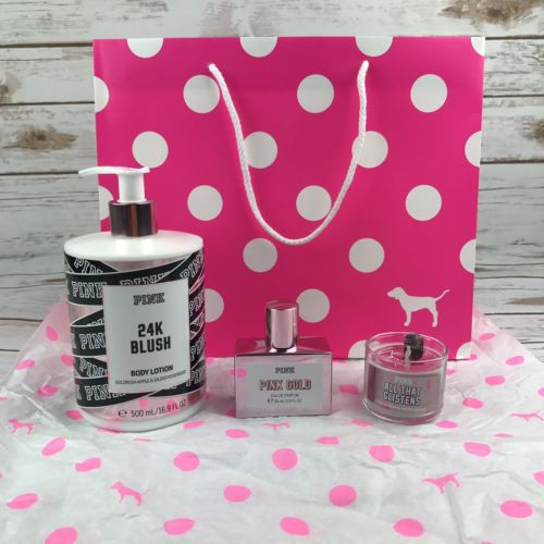 Victoria's Secret PINK Gift Set Pink Perfume,Lotion,Candle W/ tissue & gift bag