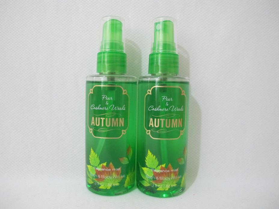 (2) NEW Bath & Body Works Pear & Cashmere Woods Mini Body Mist (3 fl oz ea.)