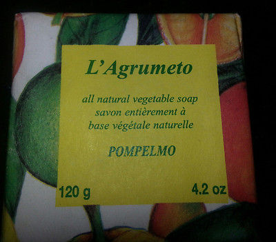 Soap, L'Agrumeto All Natural Vegetable - Pompelmo - Made in Italy, FREE US SHIP