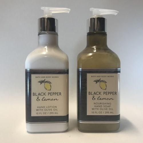 Bath Body Works Black Pepper & Lemon Nourishing Hand Soap & Lotion Set Olive Oil