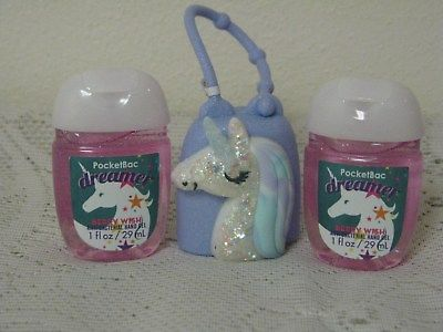 BBW POCKETBAC Gel Holder UNICORN Light Up & DREAMER Anti Bac Hand Sanitizer