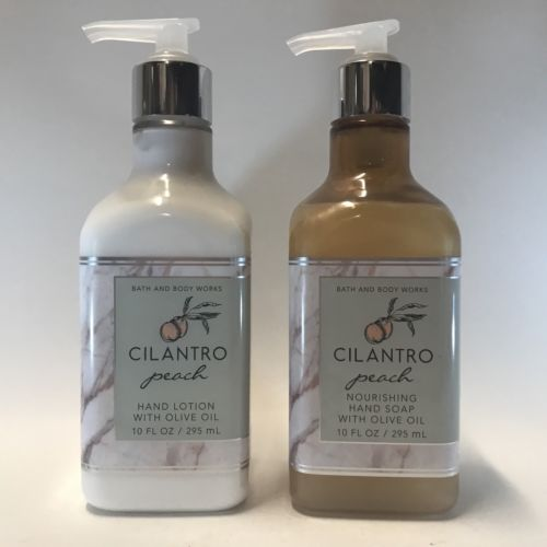 Bath Body Works Cilantro Peach Nourishing Hand Soap & Lotion Set Olive Oil 10 oz