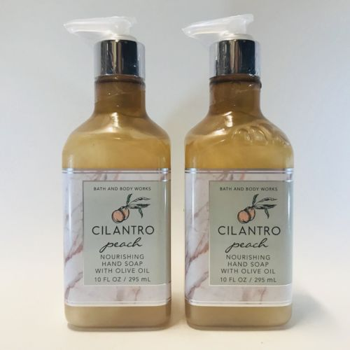 2 Bath & Body Works Cilantro Peach Nourishing Hand Soap W/ Olive Oil 10 fl.oz