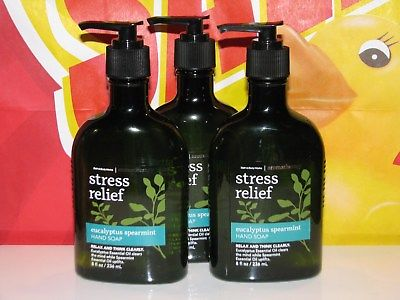 3 Bath Body Works Anti Bacterial Hand Soap EUCALYPTUS SPEARMINT Oils 8 oz