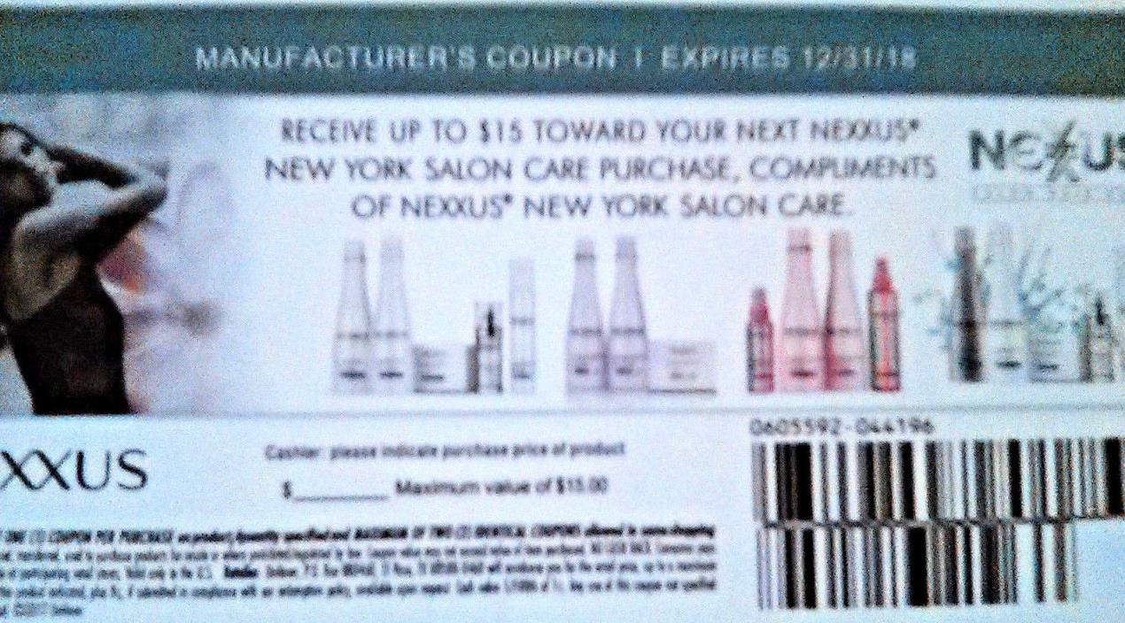 2 X MANUFACTURER'S  COUPONS----NEXXUS