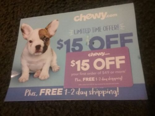 chewy.com coupon, $15 off first order of $49 plus phree shipping 3/31