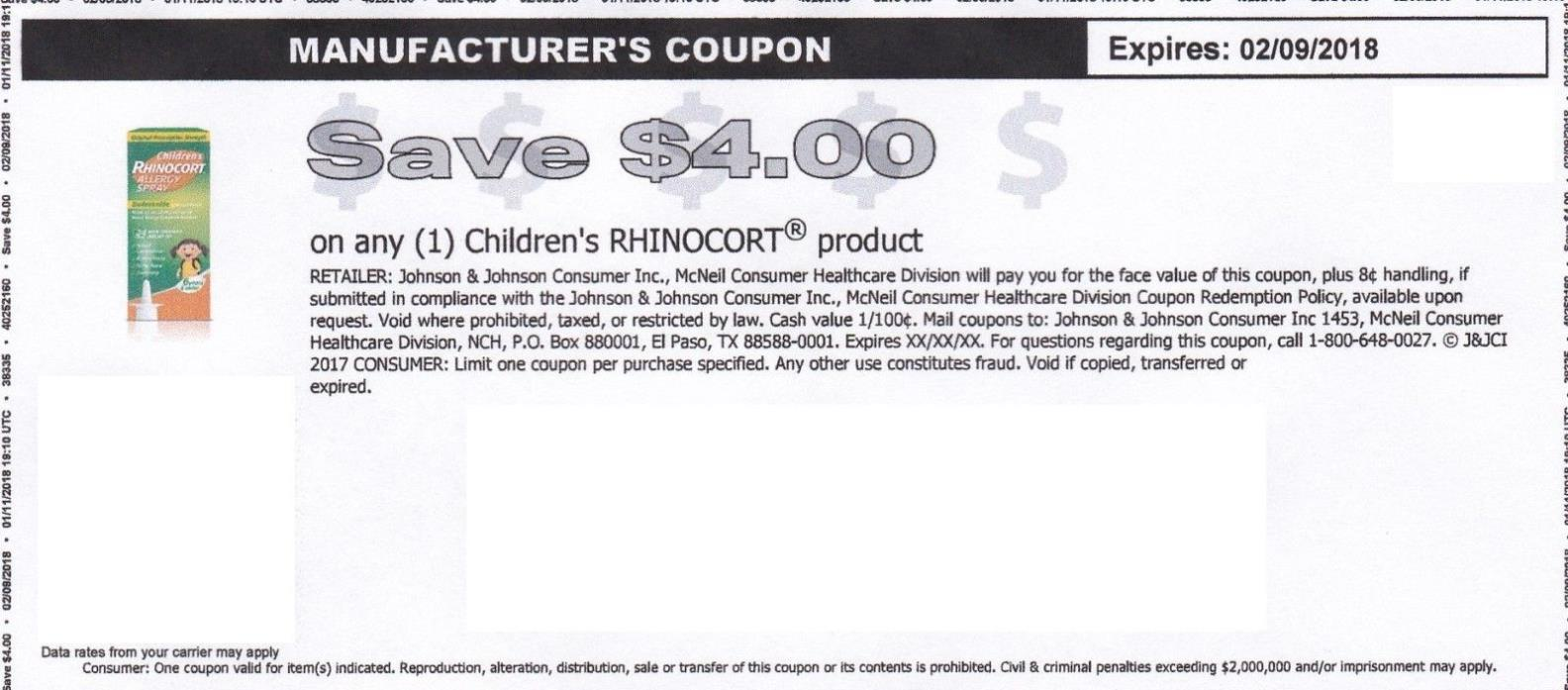 Coupon $4 Chindren's Rhinocort